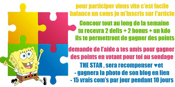 Concours  &#9733; Blog Str   Winner ] THE STAR DE MON BLOG &#9786; 