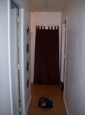 Nouveau sol poser vu porte d 39 entr e avec rideau poser l for Rideau porte d entree castorama